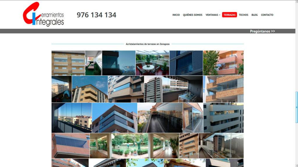 Seccion acristalamientos  de la nueva web de cerramientos integrales