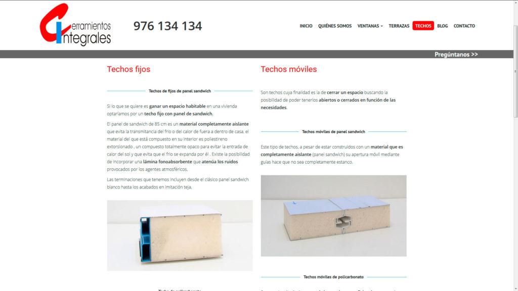 Sección de techos de  la nueva web de cerramientos integrales