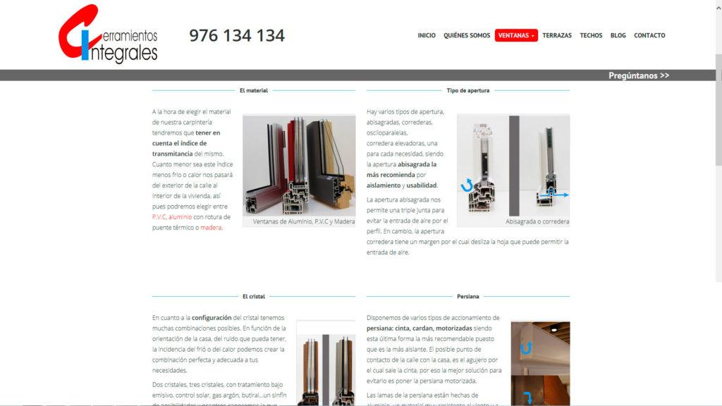 Sección de ventanas de la nueva web de Cerramientos Integrales
